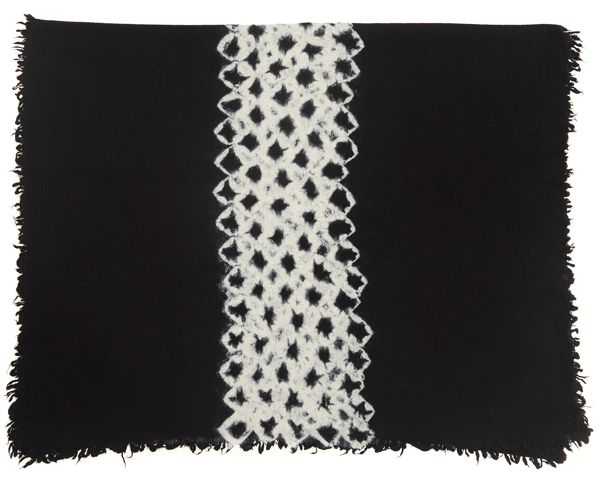 Felted Shawl Black/White Shibori