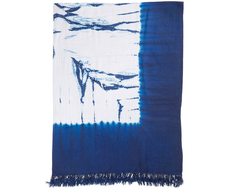 Alpaca Throw Dark Blue/ Light Grey Shibori