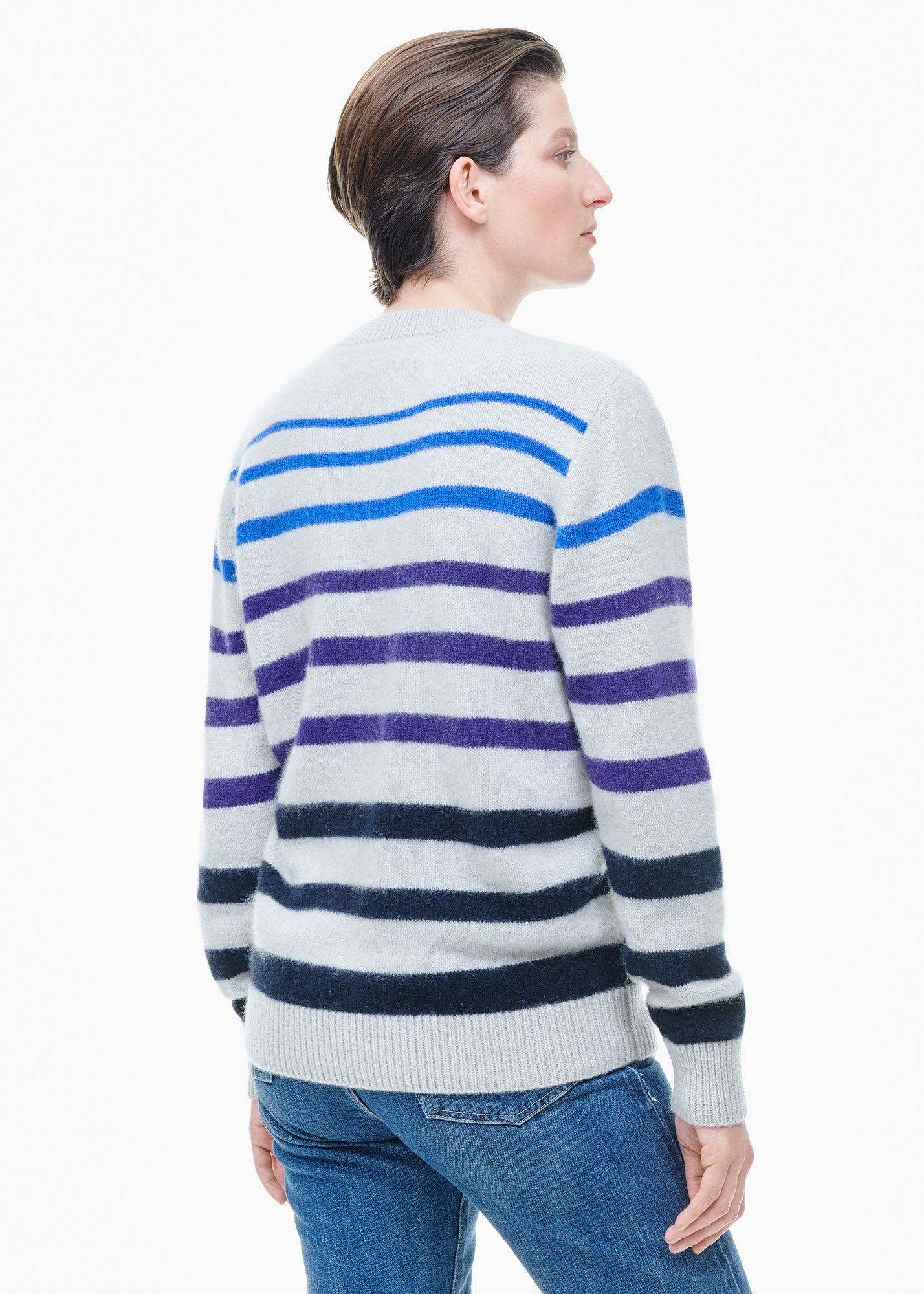 Horizon Stripe Simple Crew White/ Blue