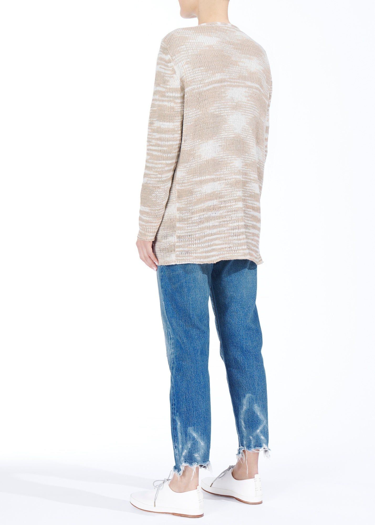Flaco Simple Cardigan Oatmeal-White