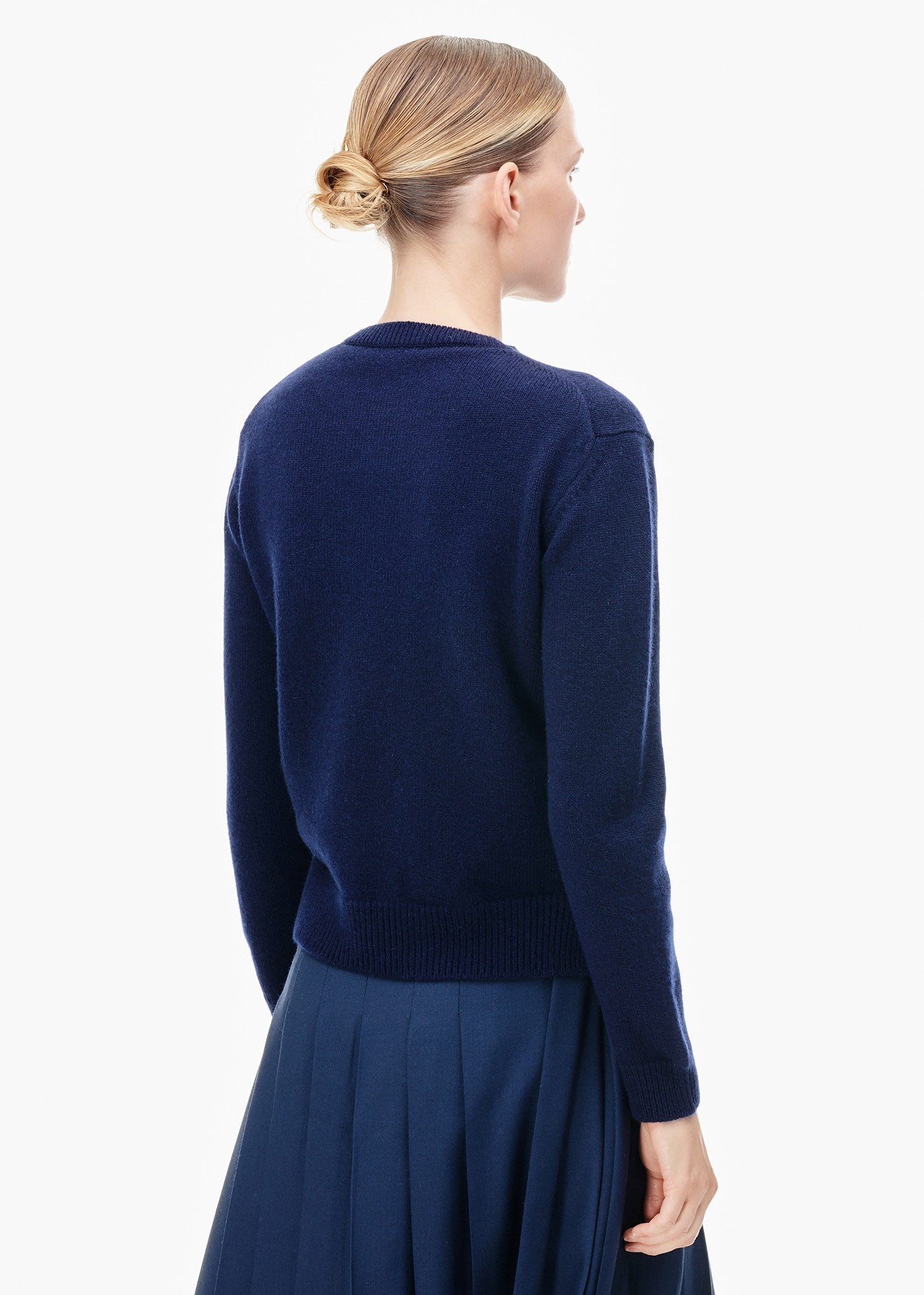 Round Neck Cashmere Sweater Navy