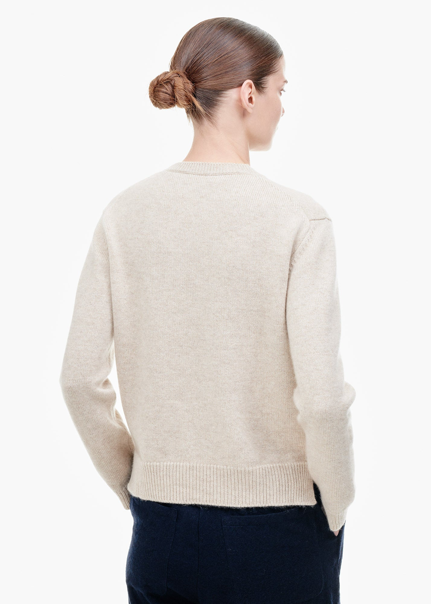 Round Neck Cashmere Sweater Sand