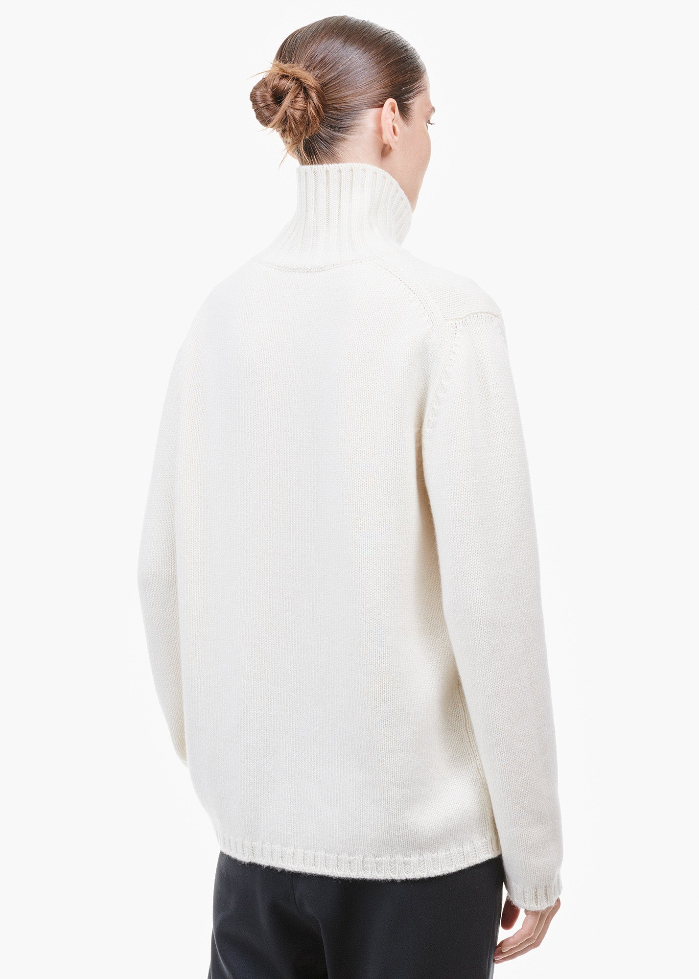 Roll Neck Cashmere Sweater White Undyed