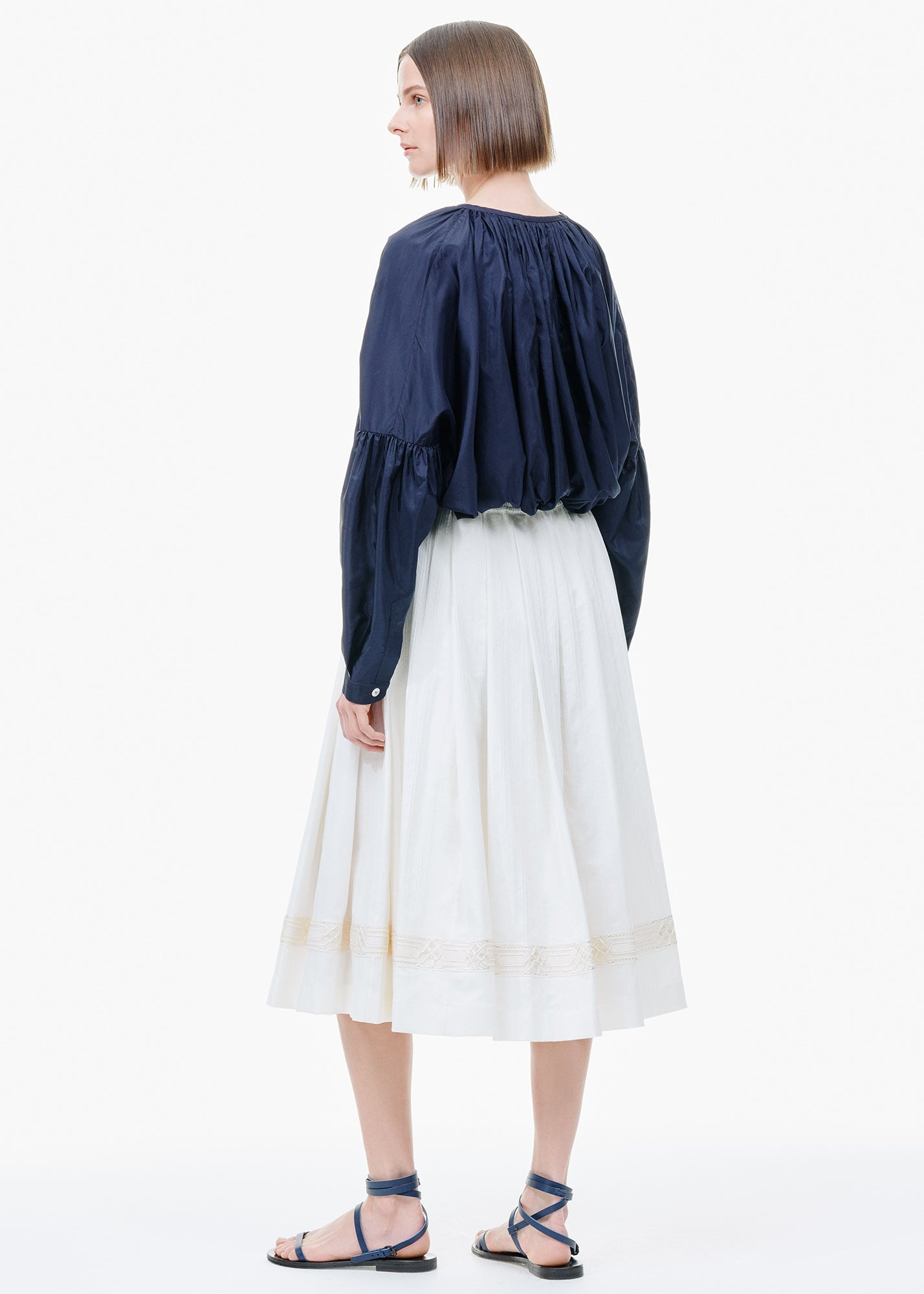 Ribbon Hem Skirt Off White