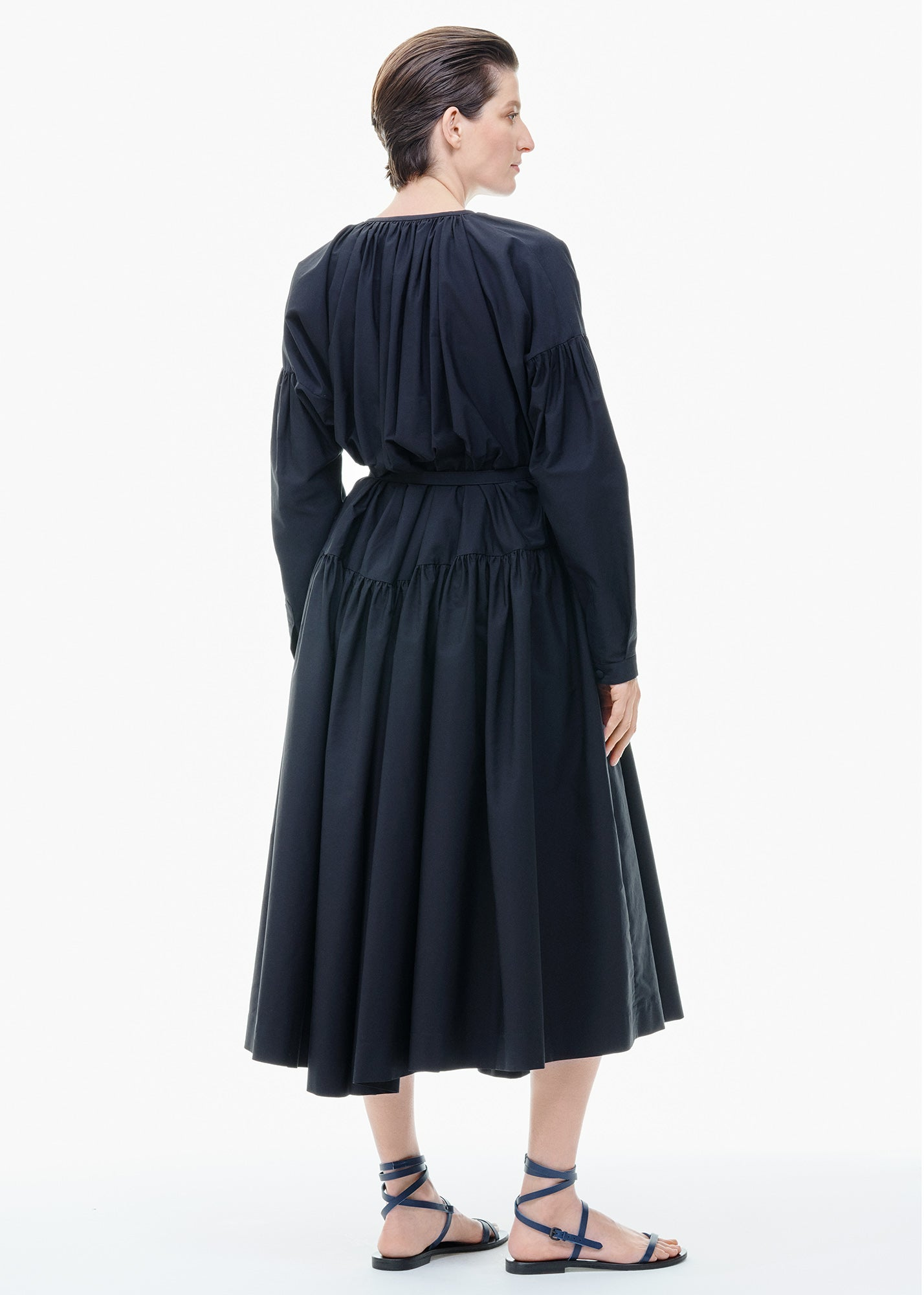 Gathered Button Front Dress Black