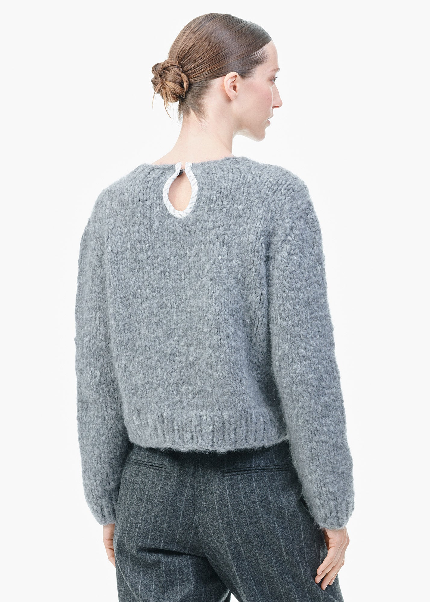 Handknit Cashmere Sweater Grey