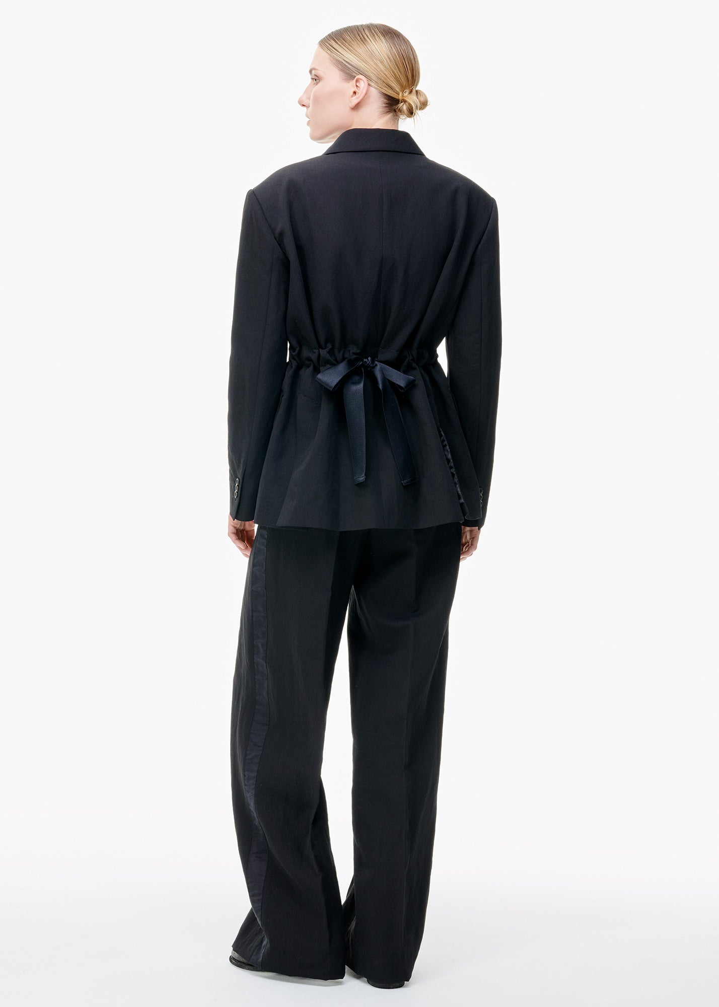 Jacket With Ribbon Tie Back Black