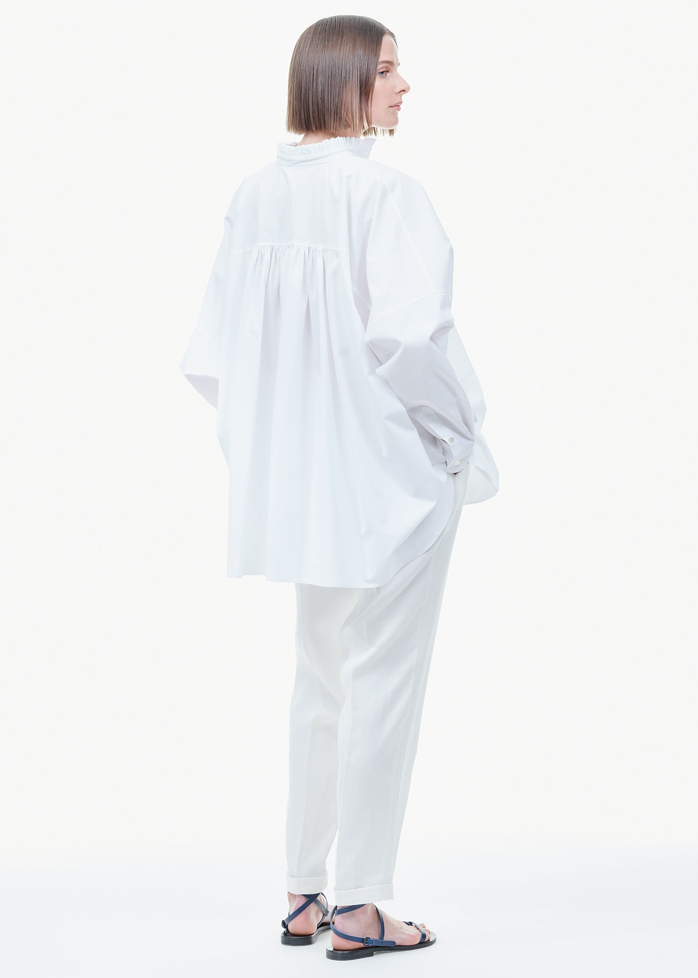 Long Shirt With Ruffle Edge White