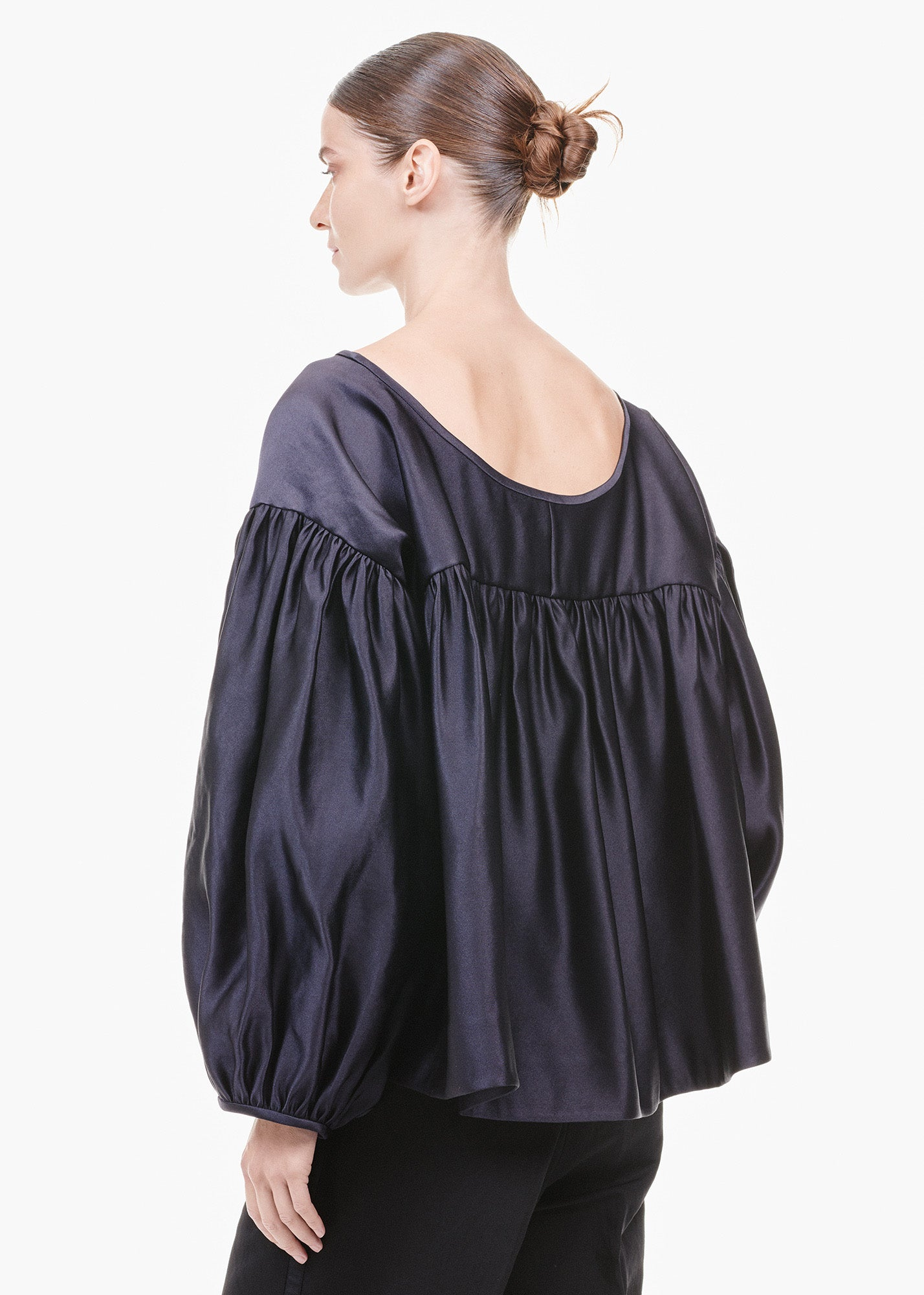 Satin Balloon Sleeve Top Navy Blue