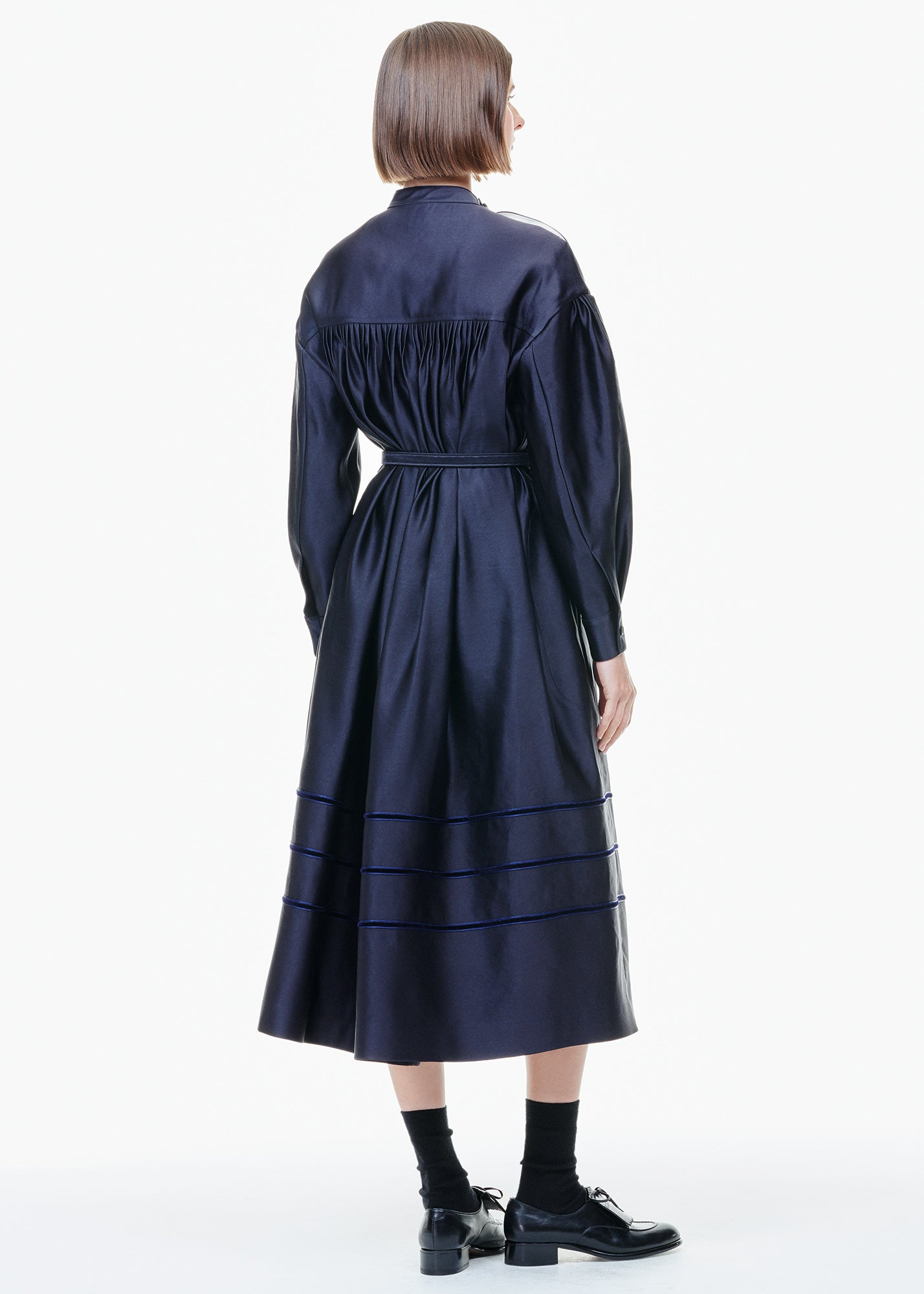 Satin Dress With Yoke Navy Blue