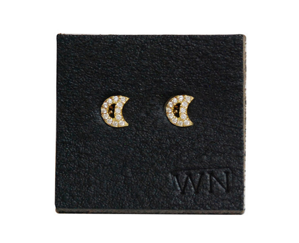 Wendy Nichol Micro Pave Moon Studs Yellow Gold