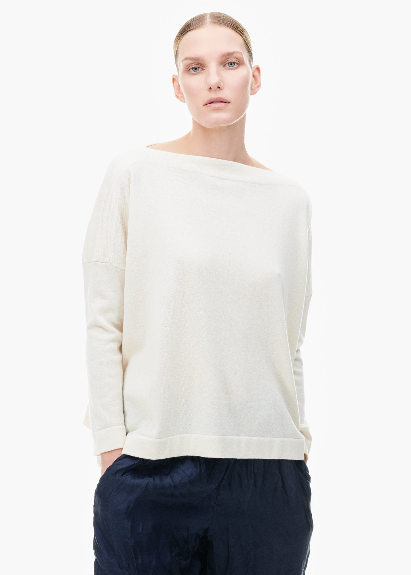 Cashmere Boatneck Sweater White
