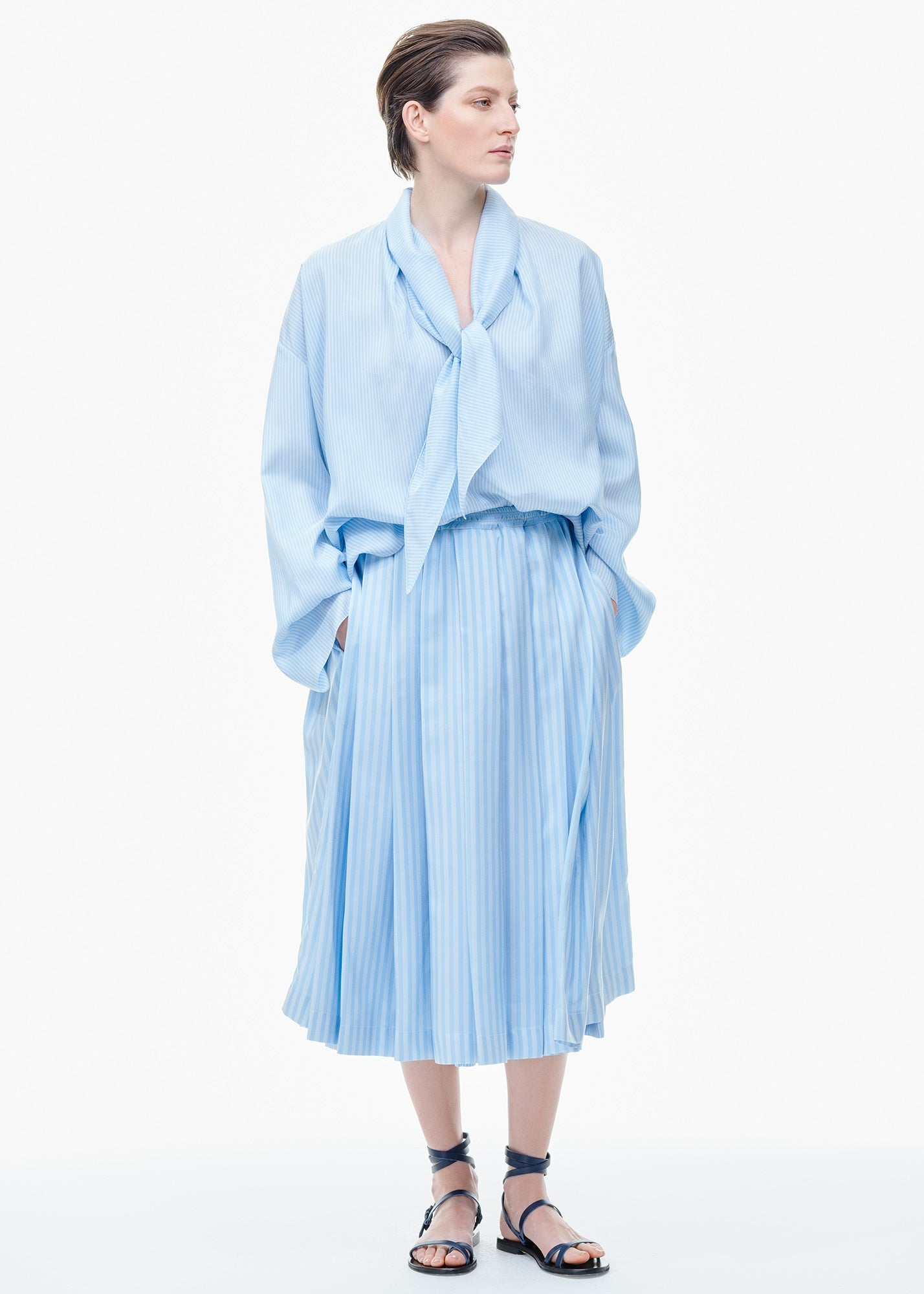 Tie-Neck Silk Blouse Pale Blue Stripe