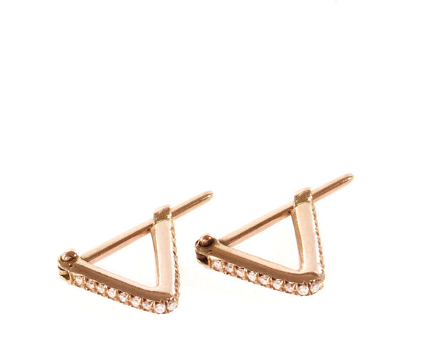 Pave Triangle Hoops Rose Gold