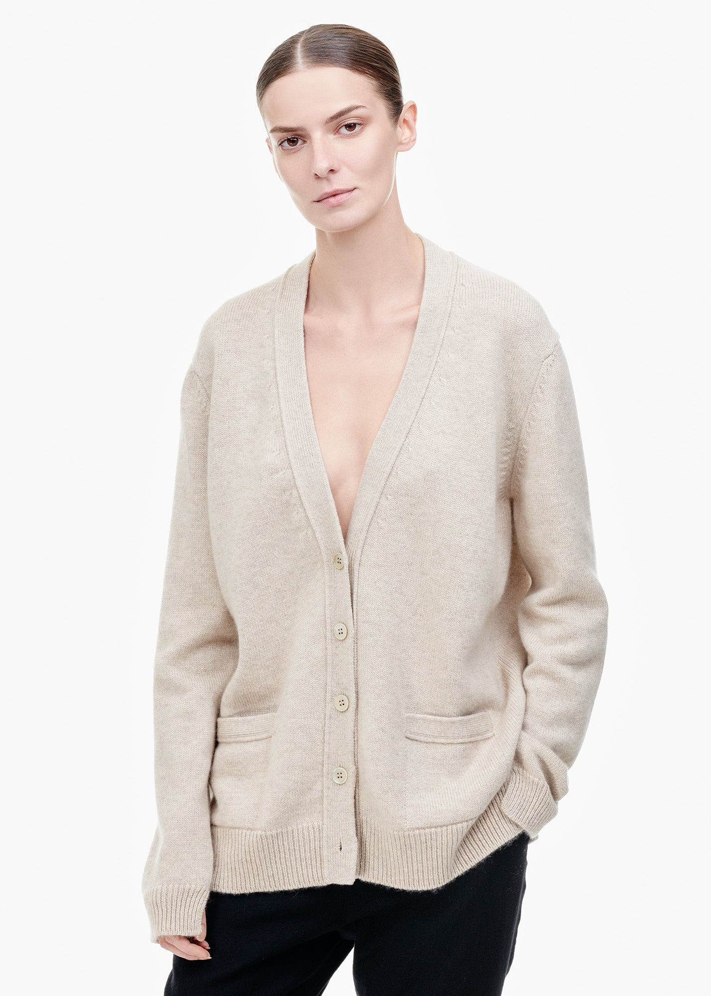 TIINA the STORE V-Neck Cashmere Cardigan Sand