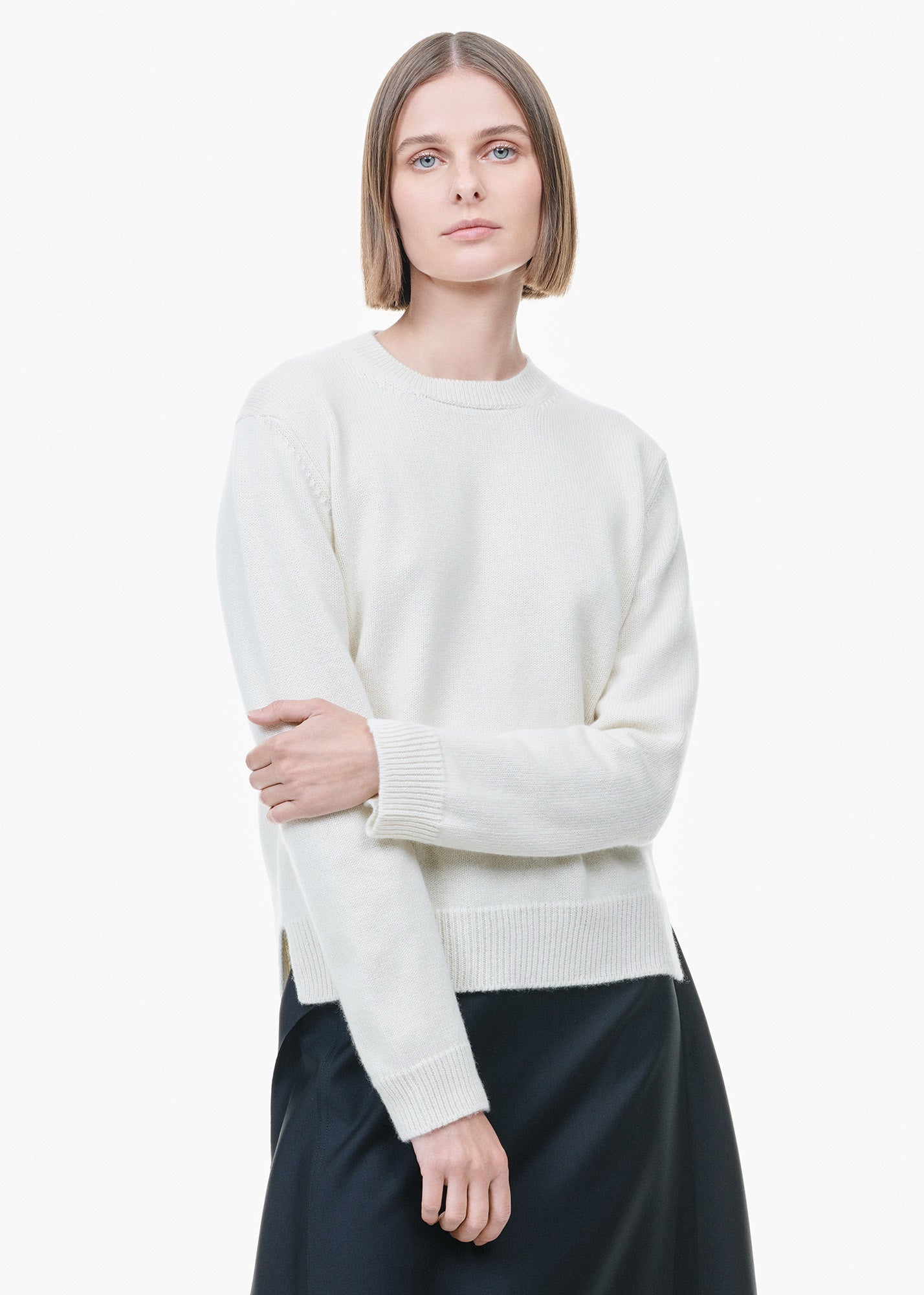 Round Neck Cashmere Sweater White Undyed