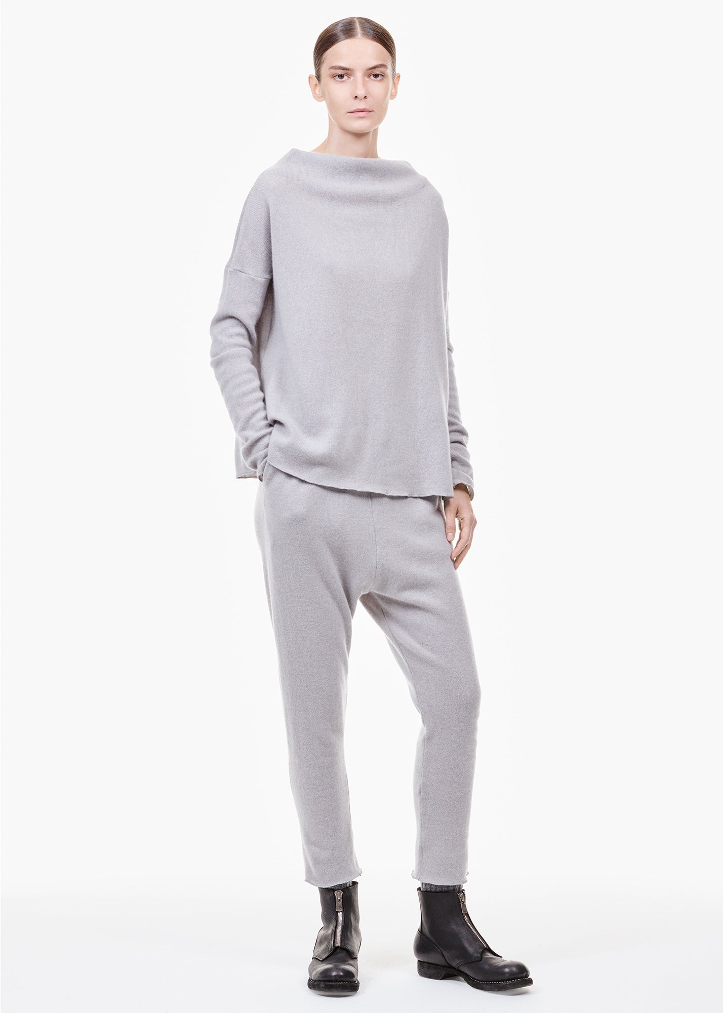 High Neck Cashmere Sweater Gray