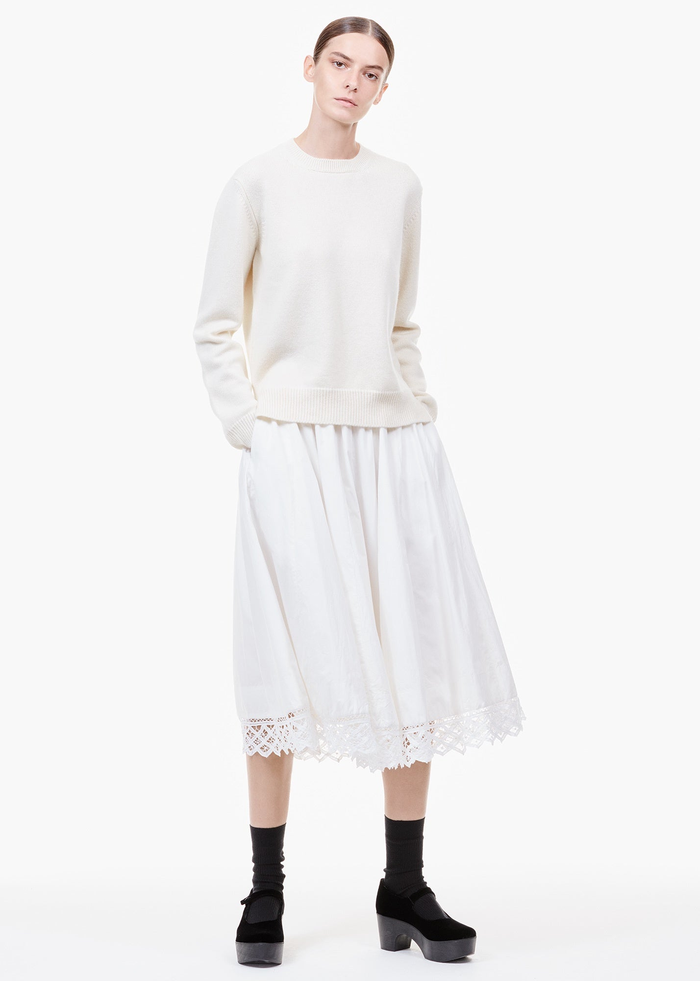 Anankari Cotton Skirt White