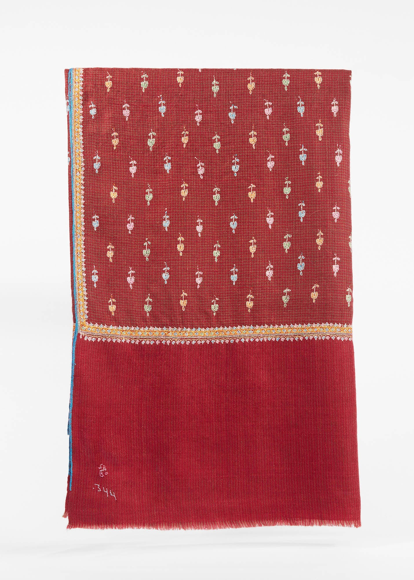 Embroidered Pashmina Shawl Maroon/ Brown