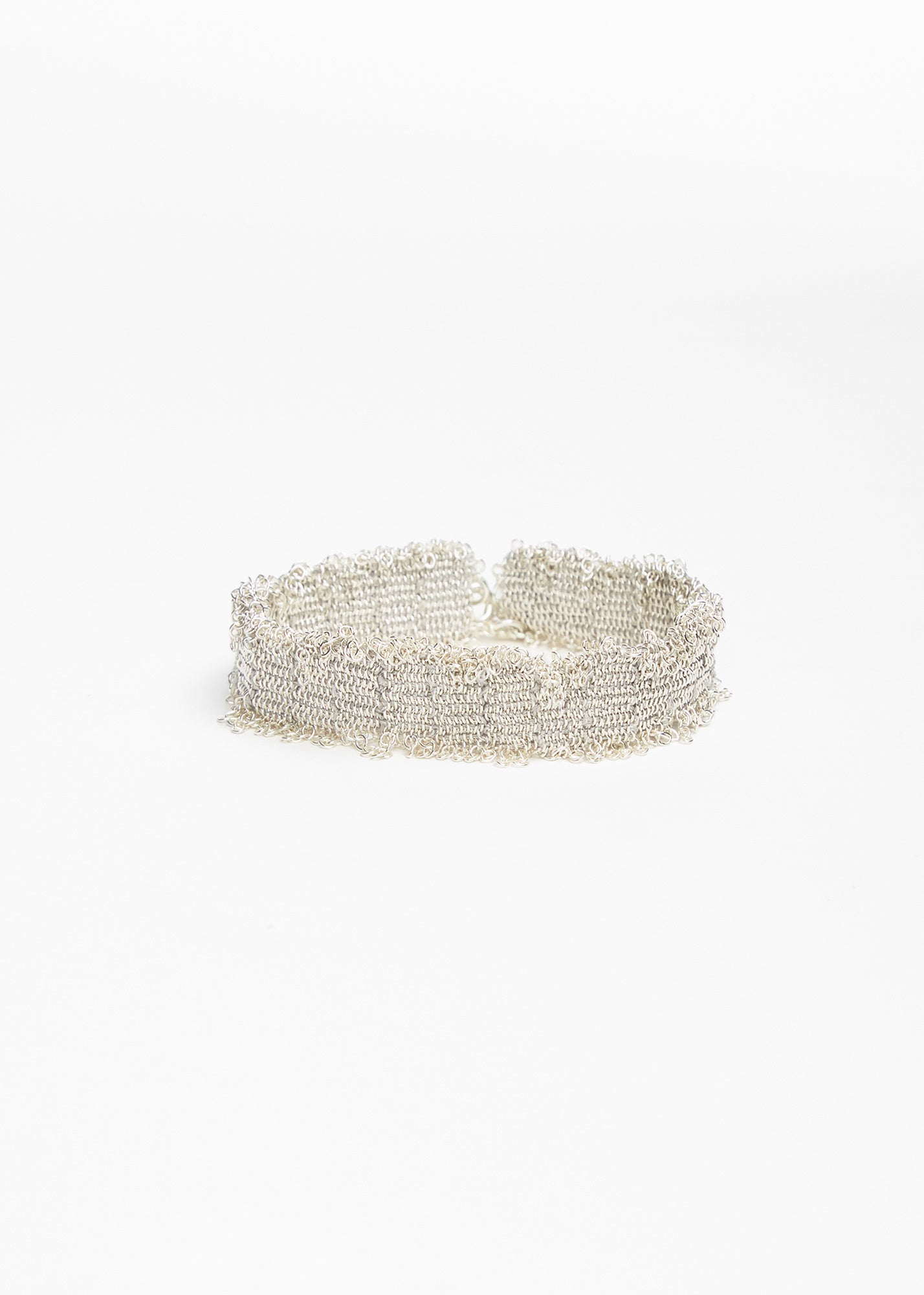 Narrow Textured Bracelet Silver/ Silk