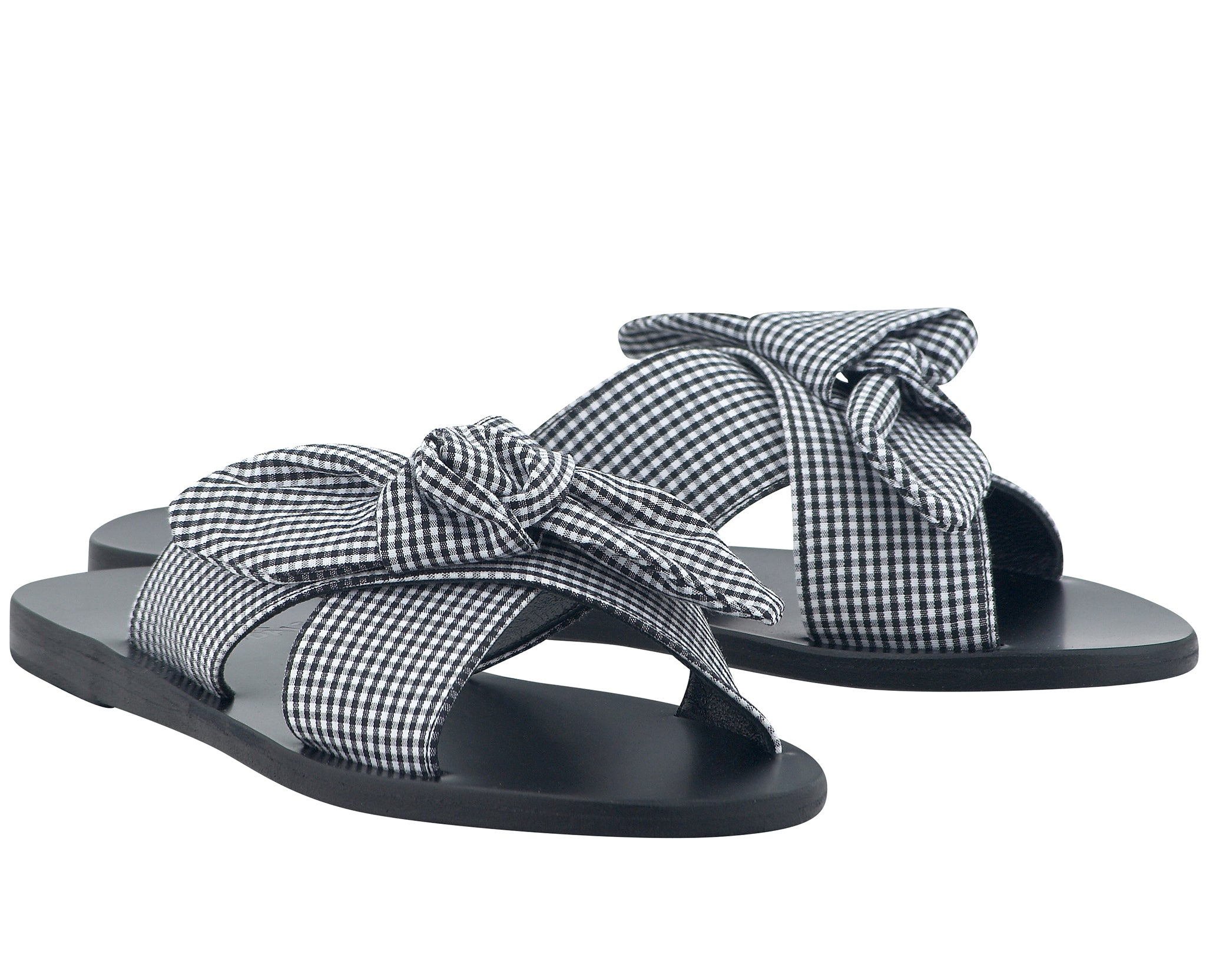 4a543b5f1e99f Ancient Greek Sandals Thais Bow Black Gingham | Tiina The Store