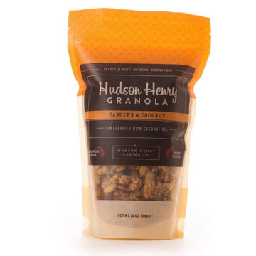 cashew and coconut granola in orange bag