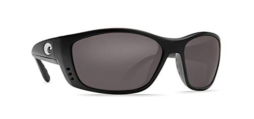 Costa Del Mar Men's Fisch Readers Rectangular Sunglasses, Matte Black/Grey C-Mate Polarized, 64 mm, +2.00
