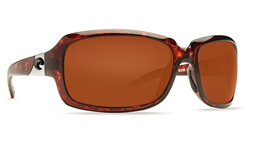 Costa Del Mar Women's Isabela Readers Rectangular Sunglasses, Tortoise/Copper C-Mate Polarized, 64 mm, +1.50
