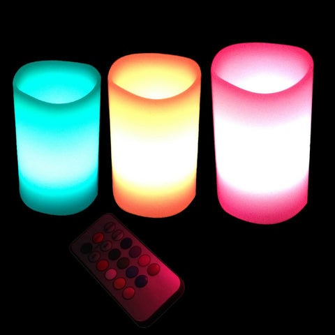 3pcs 12 Colors Changing Colors LED Candles With battery