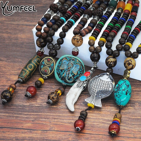 Vintage Ethnic Style Fish Elephant Wood beaded Stone