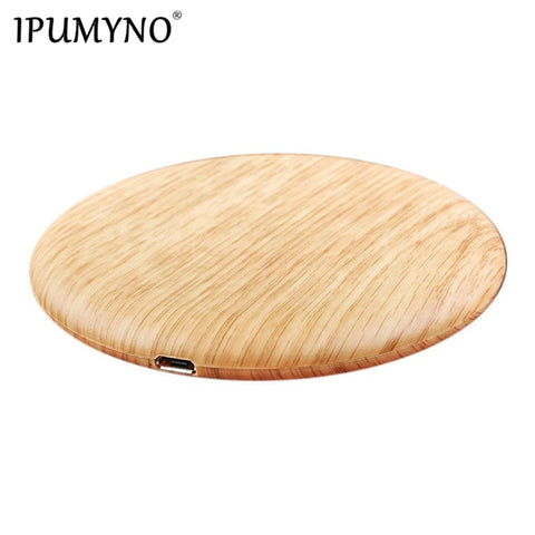 Portable Qi Wireless Charger Charging Slim Wood
