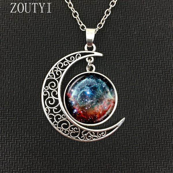 Galaxy Astro Moon Crystal Concave Pendant Necklace