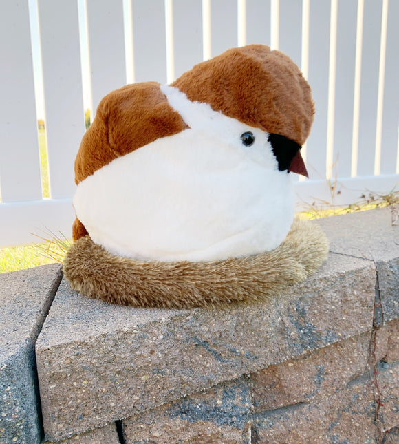 Plush Sparrow Bird with Nest 15.7