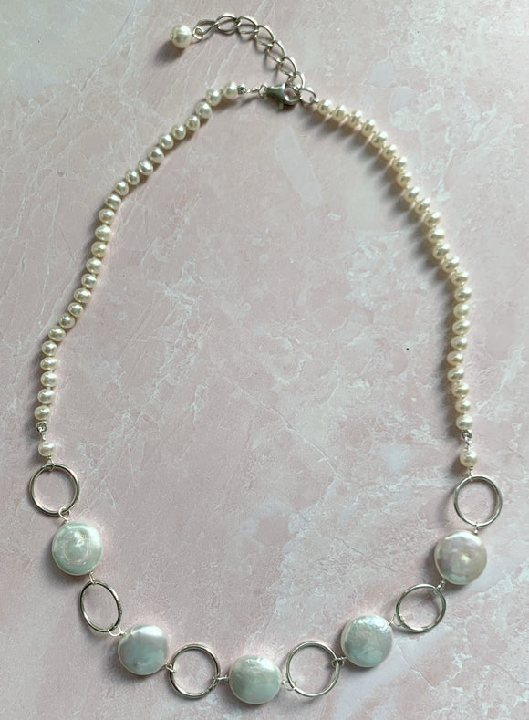 Coin Pearl & Silver Ring Necklace
