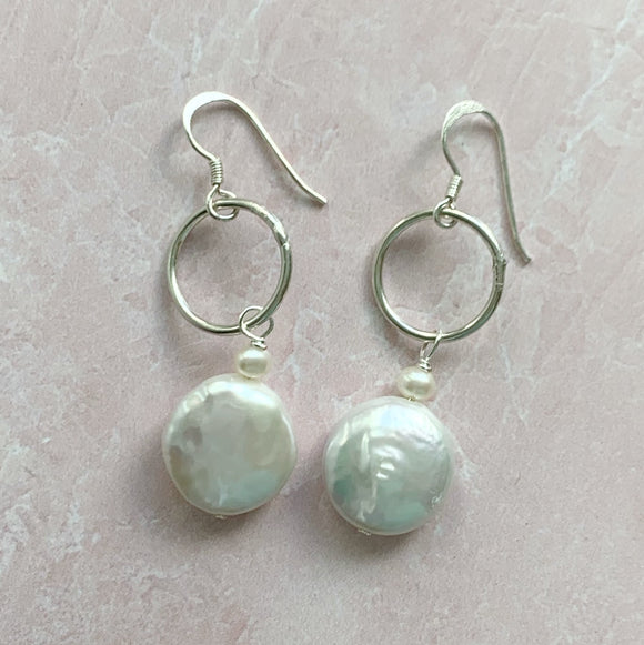 Coin Pearl & Silver Ring Earring