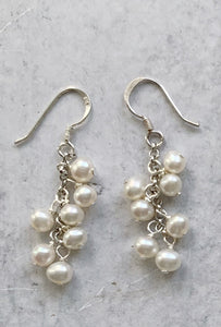 White Baby Pearl Cluster  Drop Earring