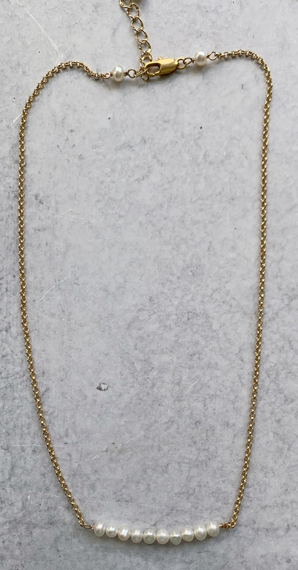 White Baby Pearl & Gold Bar Necklace
