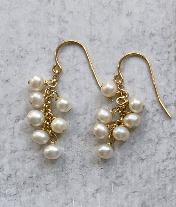 White Baby Pearl Cluster & Gold Drop Earring