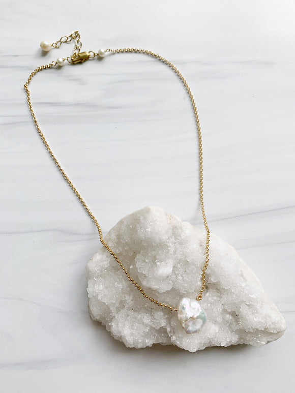 White Pearl & Gold Chain Necklace