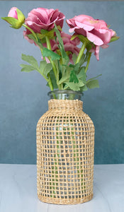 Glass Bamboo Wrapped Jars