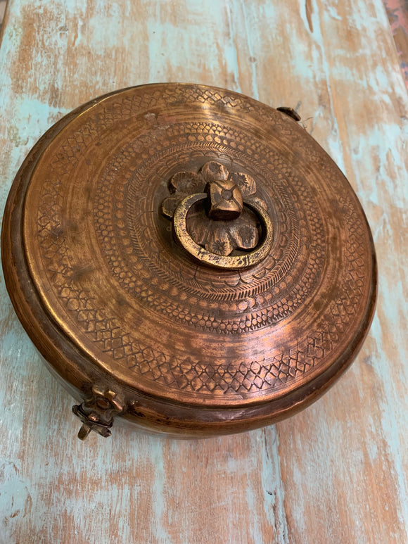 Vintage Hammered Brass Chapati Box