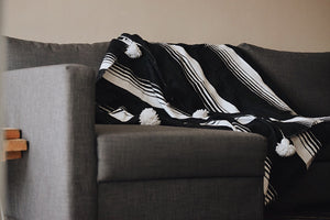 Moroccan Cotton Pom Throw Blanket
