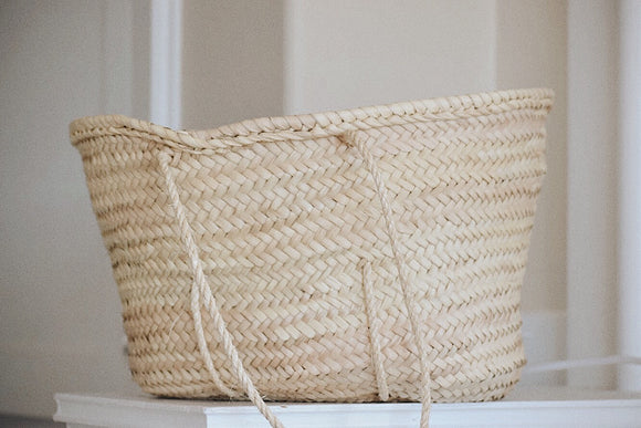 Long Handle Handwoven Moroccan Basket