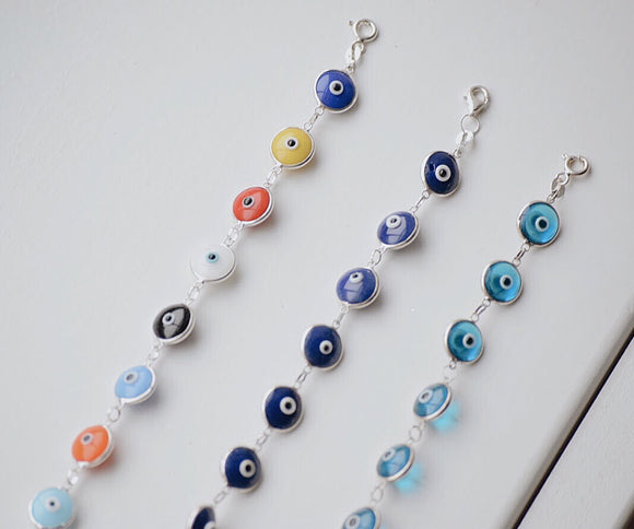 Large Evil Eye Sterling Bracelet