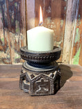 Carved Wood Candle Stand