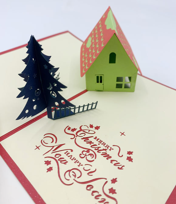 Christmas House Pop-up Card