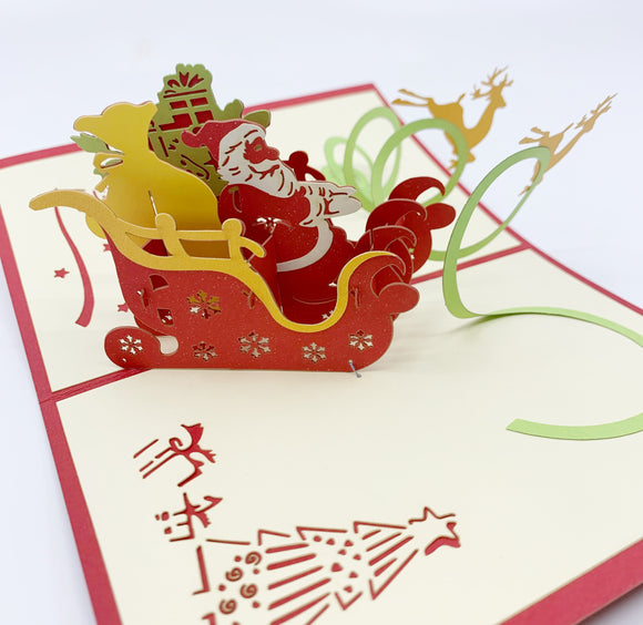 Merry Christmas Santa's & Sleigh Pop-up Card