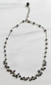 Gray Baby Pearl Cluster Necklace