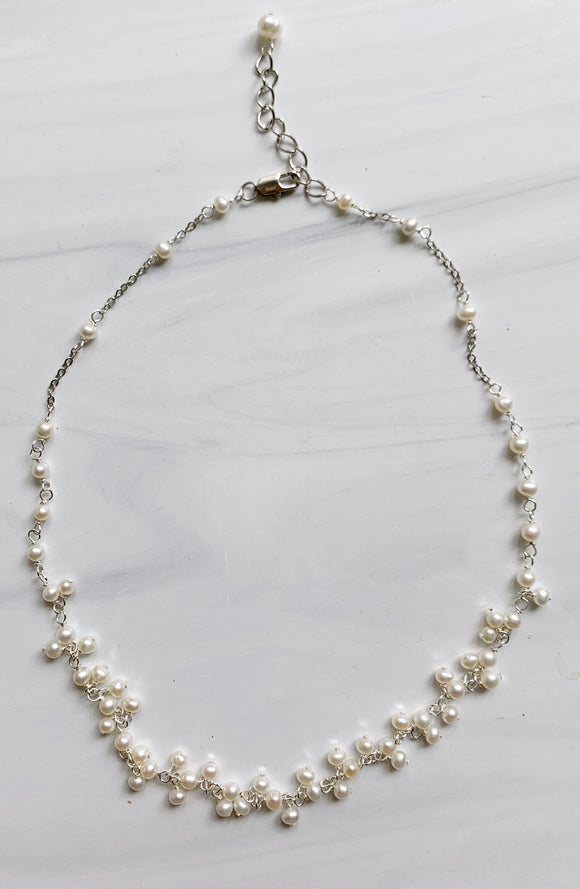 White Baby Pearl Cluster Necklace