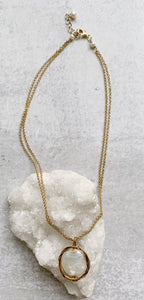 Large Coin Pearl & Gold Wire Necklace